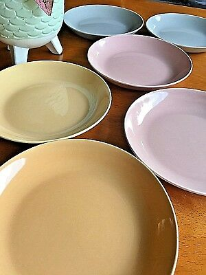 Vintage Soup Bowls WS George Mid Century Ranchero Multicolor set of 6