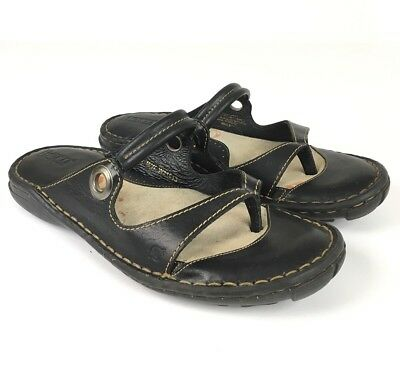 2deabaceafc9 Born Womens Leather Thong Sandals Size 9 EUR 40.5 Black Flat Slip On Comfort