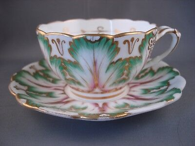Rare Ridgway Green leaf Cup and Saucer Victorian