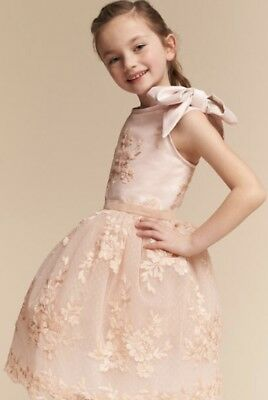 2979fdb9ac1 NEW BHLDN Doloris Petunia blush peach Embroidered Tulle Bow Flower Girl  Dress 8