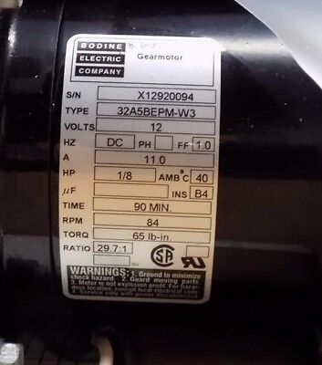 Bodine 32A5BEPM-W3 gear motor, 12VDC, 1/8 HP, 29.7:1 Ratio, New Old Stock,