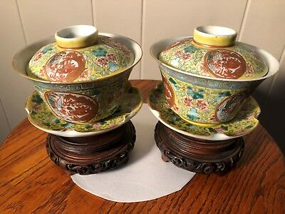 Rare Antique Chinese Porcelain Cups and Lid w/ Enamel Details Signed & Stands