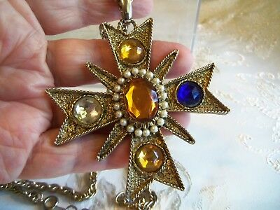 Vintage Large Faux Jewel Maltese Cross Necklace Estate Jewelry Old