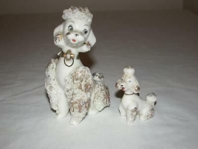 Vintage Napco White & Gold Spaghetti Poodle With One Puppy No Chain