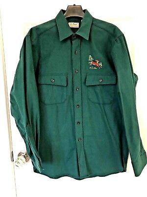 Men's NEW LL Bean USA Green Chamois Flannel Shirt Size 15 1/2 Embroidered Deer