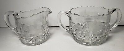 Vintage Cut Glass Set of Cream and Sugar Beautiful