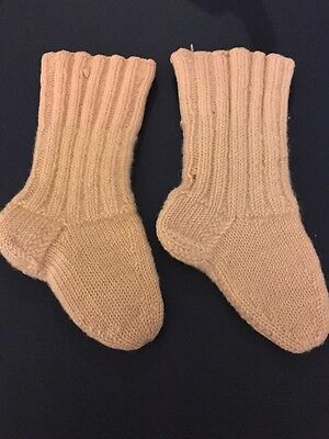 Early Antique Child Knit Wool Socks Stockings Hand Made