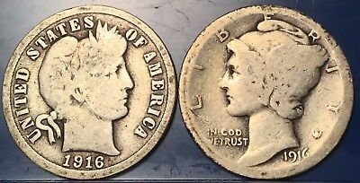Transitional Year Set 1916 Barber Silver Dime & 1916 Mercury Silver Dime.