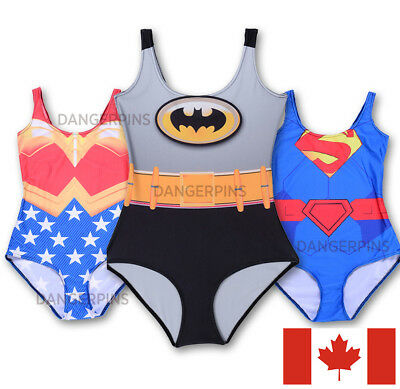 Comic book Swimsuits one piece S-XXL- superhero bathing suit swim  batman wonder