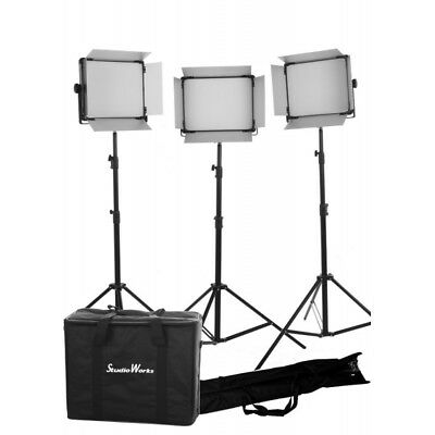 3 x LED 2000 BI COLOR DMX Control, Light panels with 3 stands and bags kit