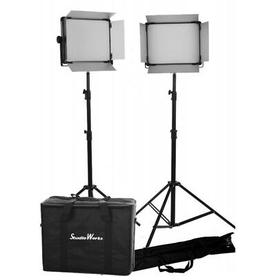 2 x LED 2000 BI COLOR DMX Control, Light panels with 3 stands and bags kit
