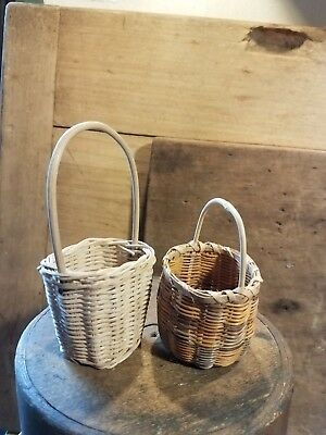 2 Excellent Antique Style Miniature Woven Baskets Dolls Bears Nice Later 1900's