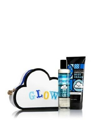 Bath and Body Works GLOW 3 piece Gift Set Electric Blue Sky Body Cream and Oil