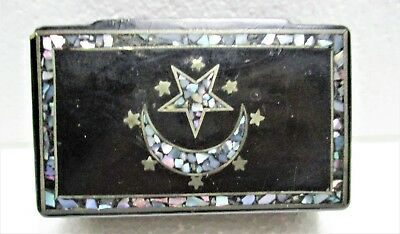 Crescent & Star Mother Of Pearl Inlay In Paper Mache Victorian Box Snuff?