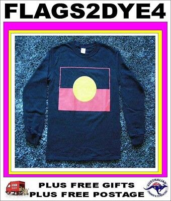 Aboriginal flag LONG SLEEVE T Shirt ADULT teenager SIZE 18 LARGE