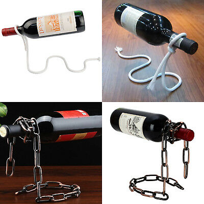 Magic Chain/lasso Rope Wine Bottle Holder Rack Stand Floating Illusion Art Gift