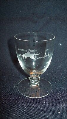 CANADIAN PACIFIC SMALL WINE or APERTIF GLASS w FROSTED FLYING GOOSE LOGO (1950s)