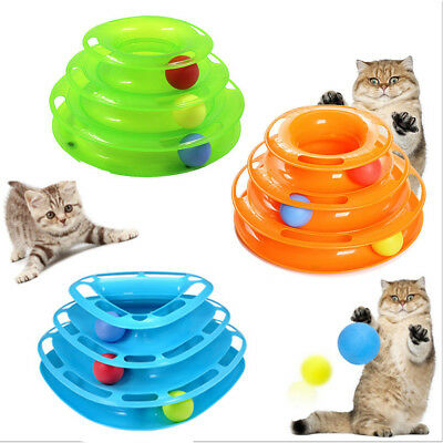Pet Amusement Plate Trilaminar Toy Cat Kitty Crazy Ball Disk Interactive Toy Pet