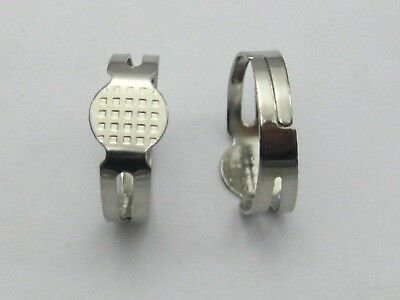 50 Silver Adjustable Ring Blank GLUE ON Base 8mm PAD