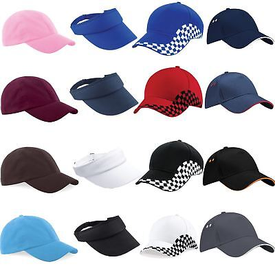 Beechfield Adults Sun Visor Sport Racing Car Cap Low Profile Baseball Headwear