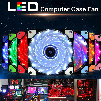 DIY 12V 3-4Pin LED Light Neon Quite Clear 120mm PC Computer Case Cooling Fan Mod