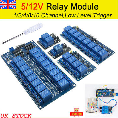UK Stock 5V 12V ARM AVR DSP PIC PLC Relay Module 1-2-4-8-16 Channel For Arduino