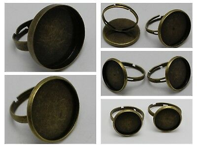 20 Bronze Tone Adjustable Ring Round Blank Setting Cabochon GLUE ON Pad