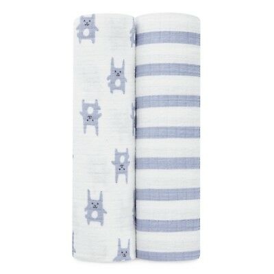 aden by aden and anais premium winter flannel muslin: 2-pk bunny blue