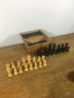 Old Wooden Chess Set Pieces