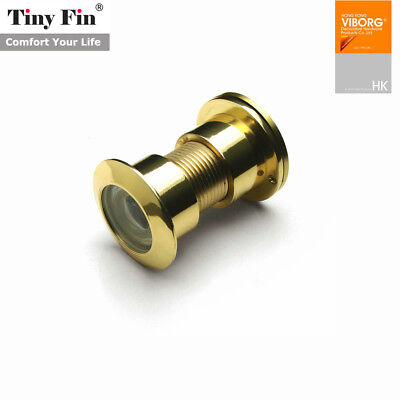 TinyFin Solid Brass Spy Hole Glass Lens 220 Degree Wide Angle Door Viewer