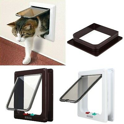 New White Frame 4 Way Locking lockable Pet Cat Small Dog Flap Door S M L 3 Si...