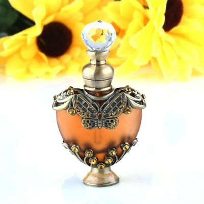 Vintage Heart Shape Empty Refillable Metal Glass Perfume Bottle Stopper Gift 5ml