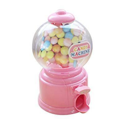 Baoblaze Mini Candy Gumball Dispenser Toy Vending Machine Coin Bank Pink