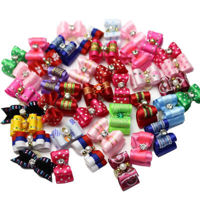 10Pcs Cute Dog Accessories Pet Hair Bows Different Styles And Colors At Randomly