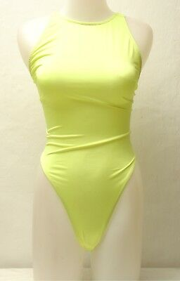 New Bright Yellow Racingback Thong Leotard for Women size 10 Small