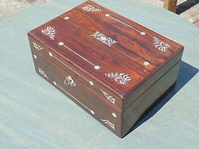 Rio Rosewood Box Inlaid With Inriticate Mother Of Pearl Design With Key