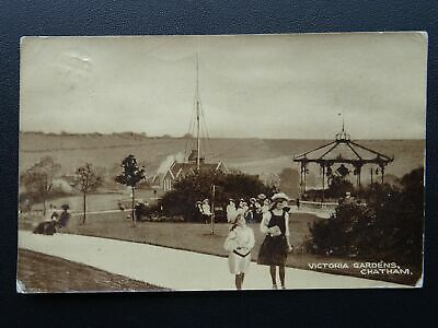 Charming Kent CHATHAM Victoria Gardens Shows Bandstand C1920 RP Postcard By W.N.  Eastgate Nice Design