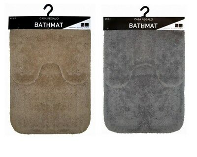 NEW 2pc Bath&Pedestal Mat Toilet Mat Set Bathmat Set Non Slip Rug Mat
