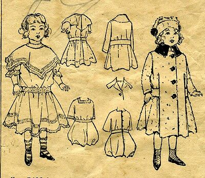 """1908 Antique Sewing Pattern Copy with Dress Coat & Rompers & Hat 18"""" Doll #140"""