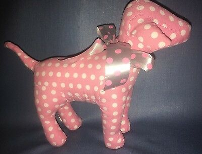 Victoria's Secret PINK Stuffed Dog Pink White Polka Dots Pink White Bow