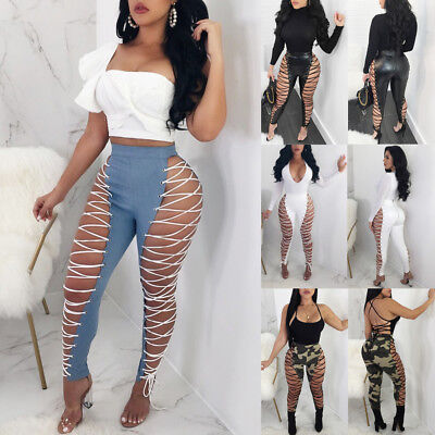 US Stock Womens Lace UP Hollow Out Pants High Waist Skinny Bandage Club Trousers