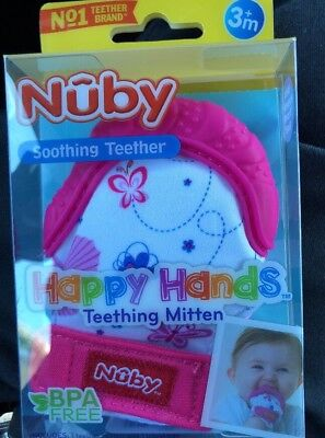 Nuby Soothing Teether Happy Hands Teething Mitten with Hygienic Travel Bag Pink