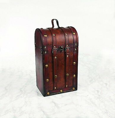 Chateau Antique Two-Bottle Wine Travel Case- Wood, brass and faux leather Design
