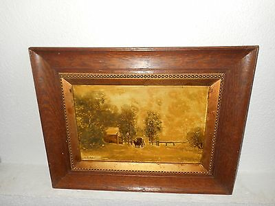 Old oil painting on porcelein, Man with a wagon near the woods, signed L. Apol.