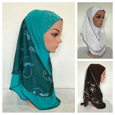 Embroidery Flower Lace  Muslim **1 Piece Al-Amira Hijab ** Islamic scarf.