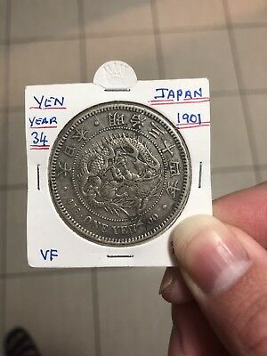 1901 japan meiji 34 One Yen Dragon Silver Coin