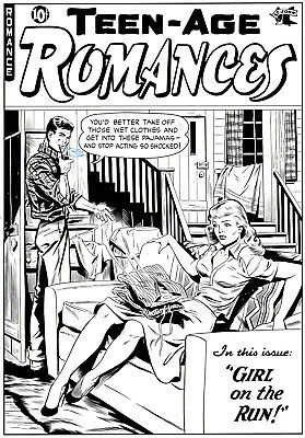 Original TEEN-AGE ROMANCES Art COVER RECREATION Professional 13x20 INK DRAWING
