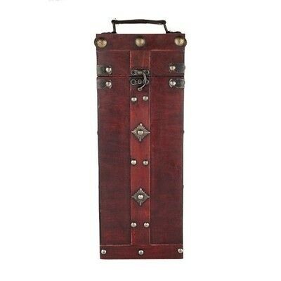 Antique One Bottle Treasure Chest Wine Travel Case- Wood, brass and faux leather