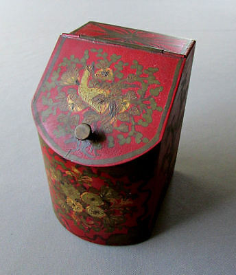 Small ANTIQUE Hand Painted TOLEWARE TEA CADDY