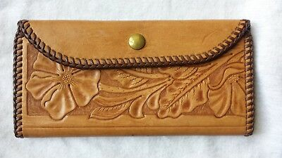 Vintage likely Mexican Hand Tooled leather wallet purse